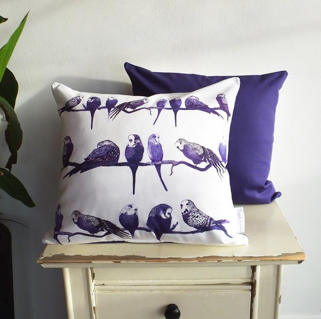 Aviary Patterened Budgie Parakeet Cushion