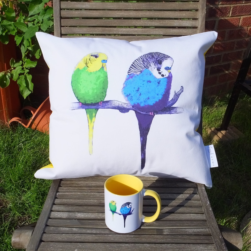 Jenny K Home Budgie Mugs Colourful Yellow Summer 9-min