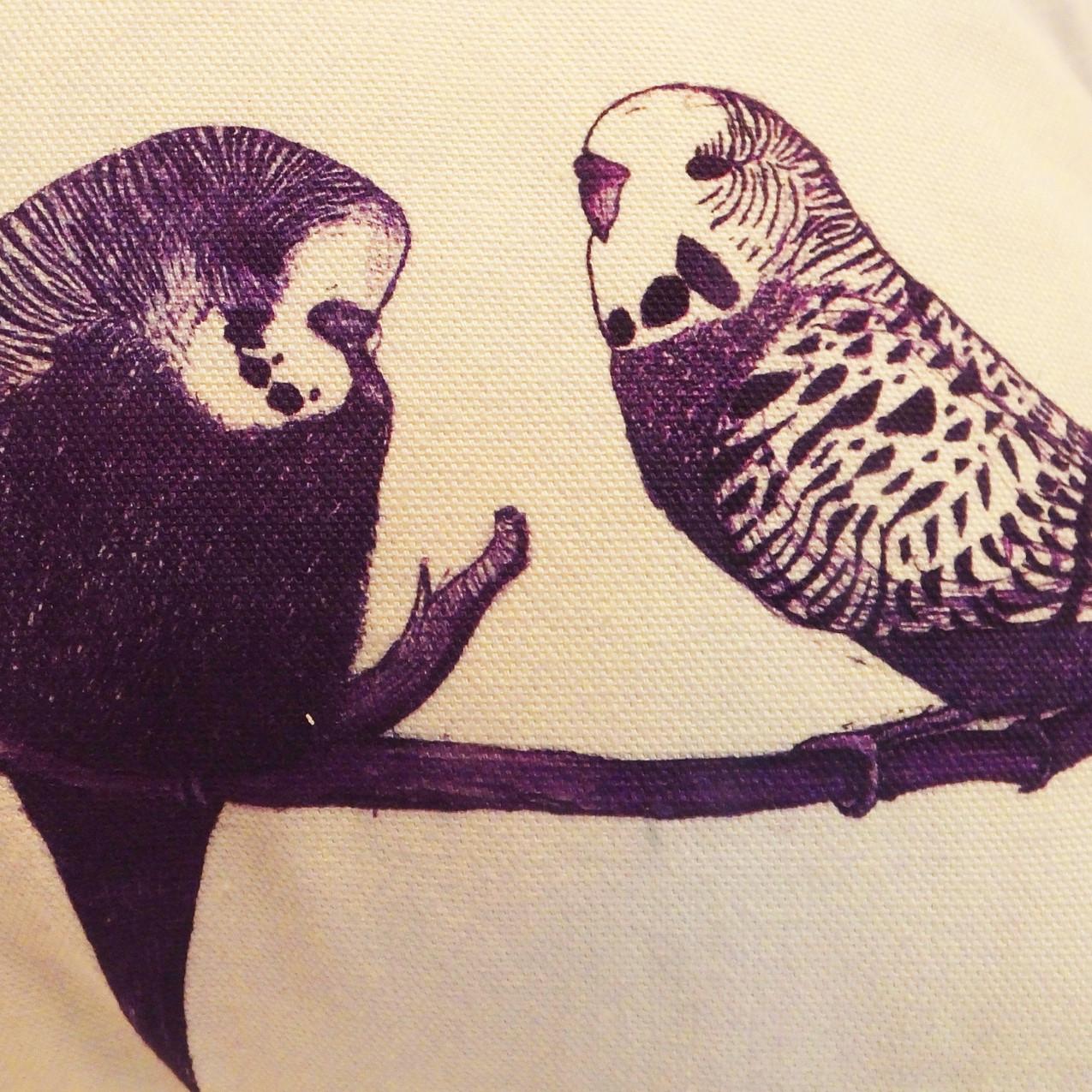 Jenny K Home Aviary Group Budgie Bird Cushion Purple Velvet Piping Cotton 4