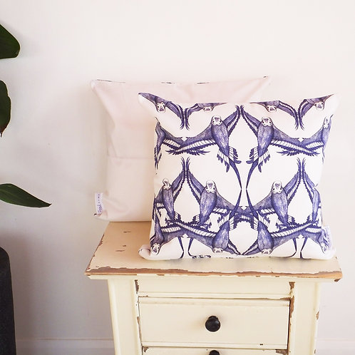 (William Morris) Country-Style Blue & White Budgie Cushion Cover