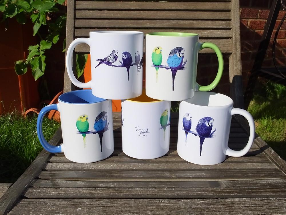 Budgie Parrot Bird Mugs Jenny K Home