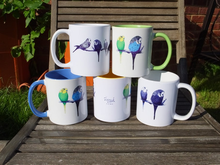 Colourful Budgie Mugs - New to Jenny K Home with bright matching cushions