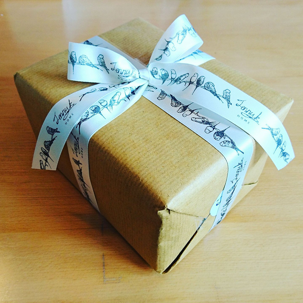 Jenny K Home gift wrapping budgie ribbon vintage style