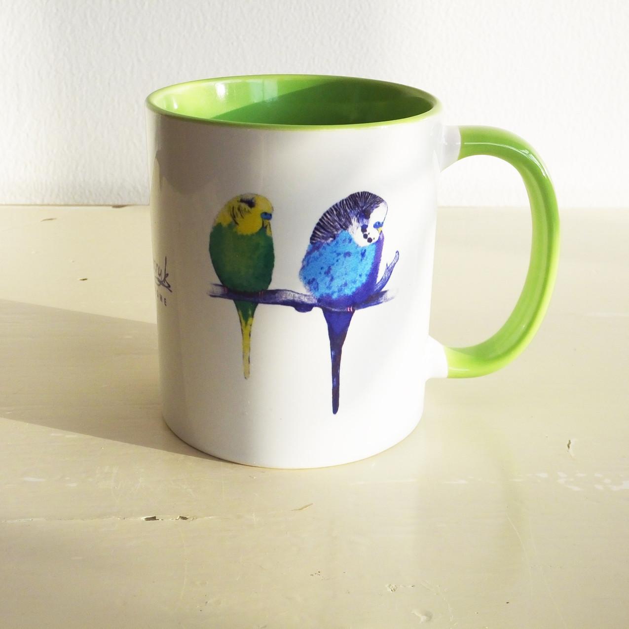 Jenny K Home Light Green Budgie Parakeet Bird Mug 1-min