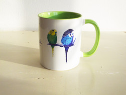 Green Budgie Bird Mug