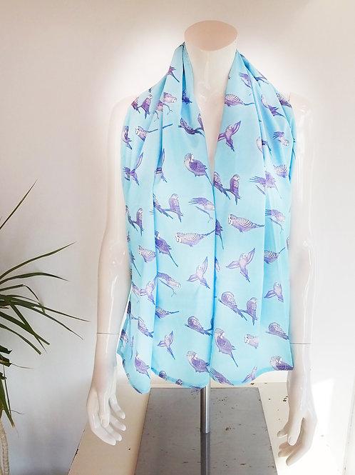Pale Ice Blue Cotton Parakeet Scarf