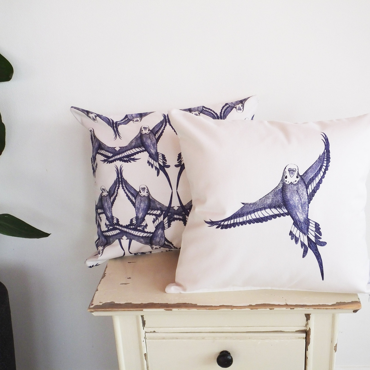 Jenny K Home Blue and White Single Flying Budgie Cushion 5-min