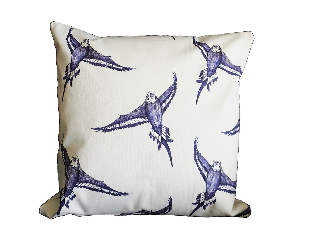 Jenny K Home - Budgie Bird in Flight Cushion Cover Throw Pillow | Traditional Country Blue White Flying Feathers 100% Cotton Handmade UK