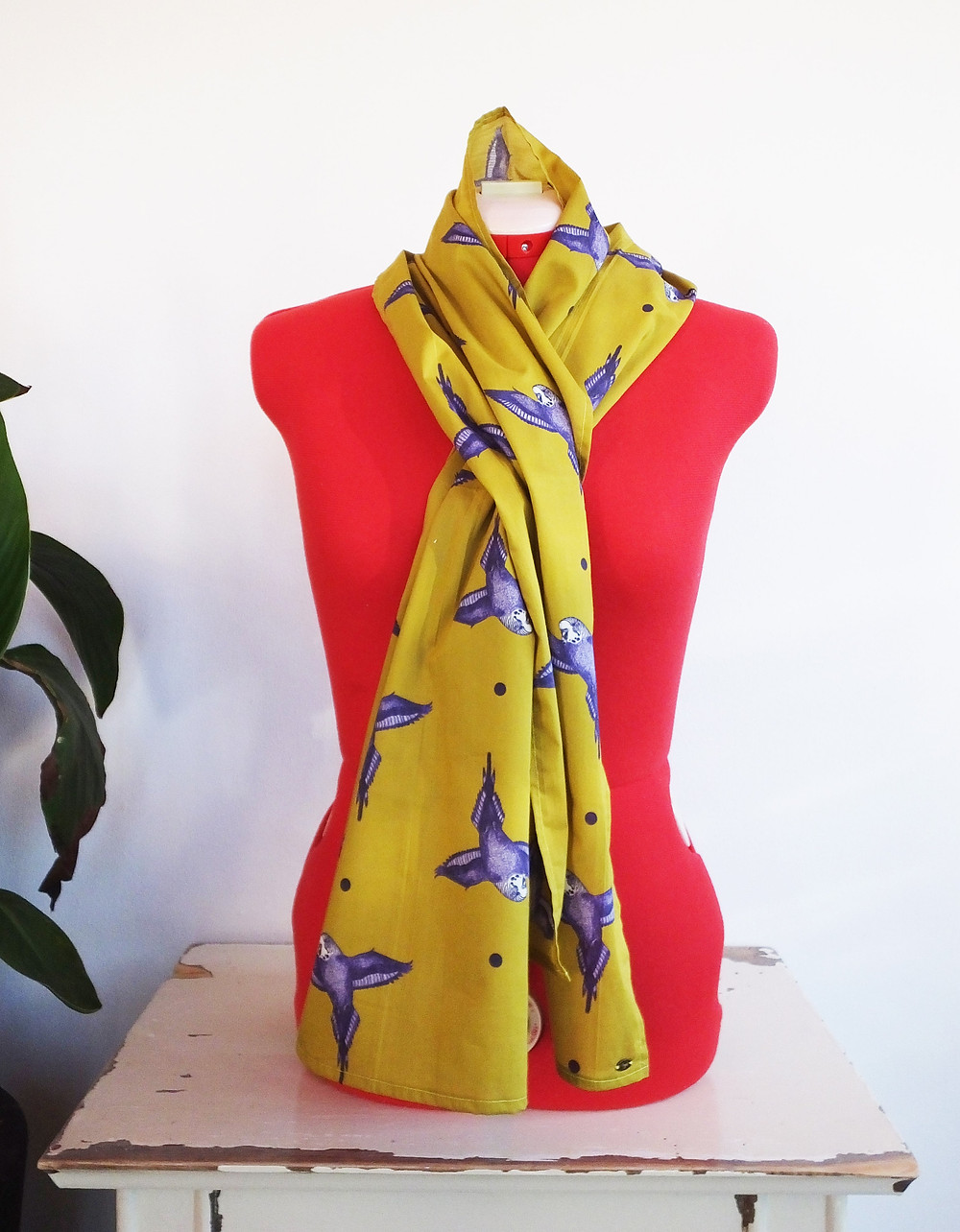 Gold green budgie parakeet scarf ladies