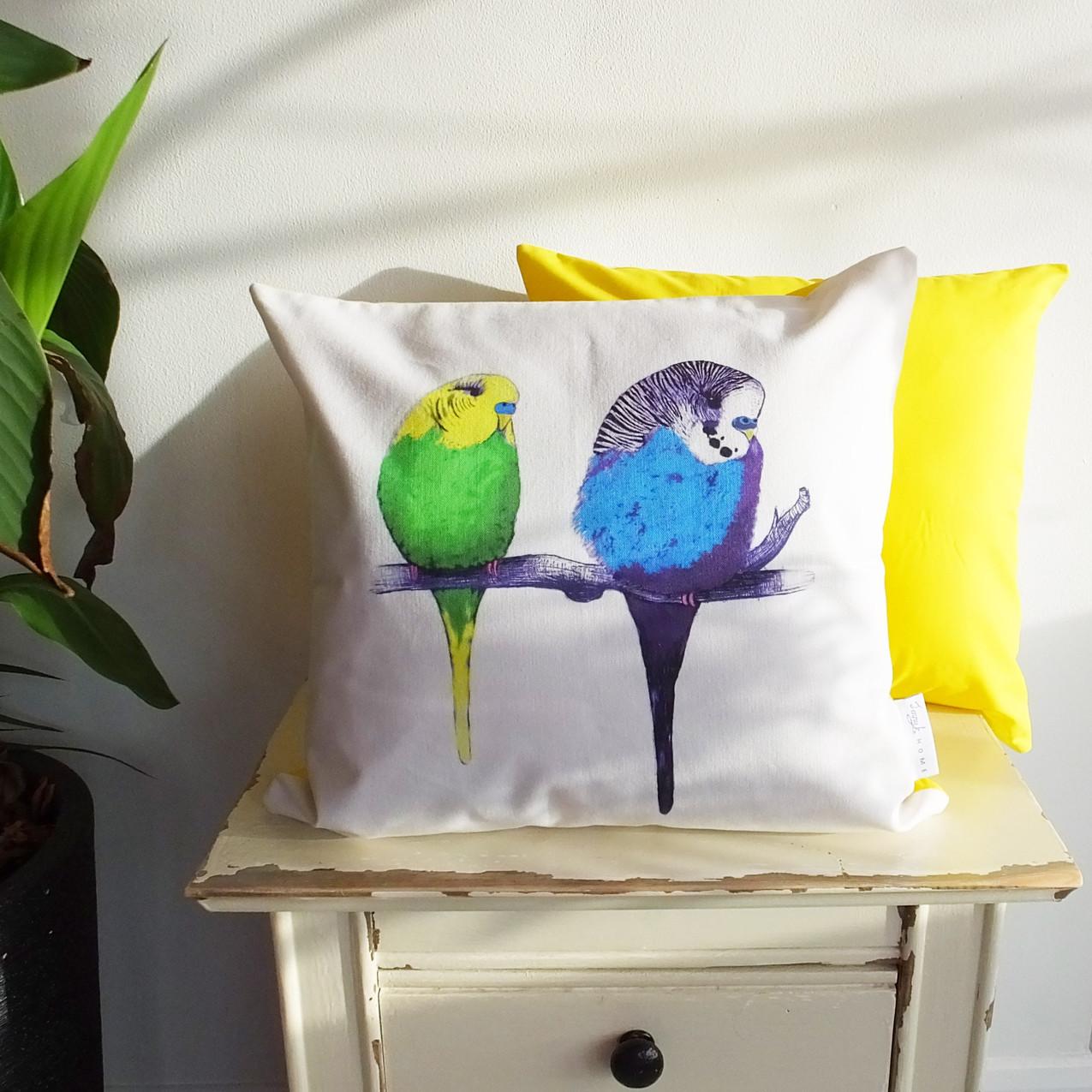 Jenny K Home Yellow Budgie Cushion Too Cute 1-min