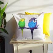 Bright Canary Yellow Bird Cushion