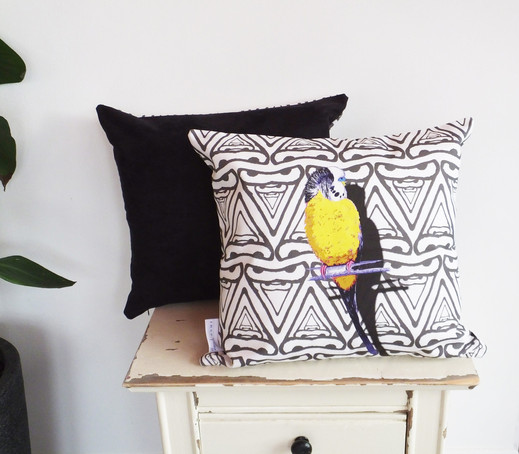 Yellow Budgie Geometric Faux Suede Cushion