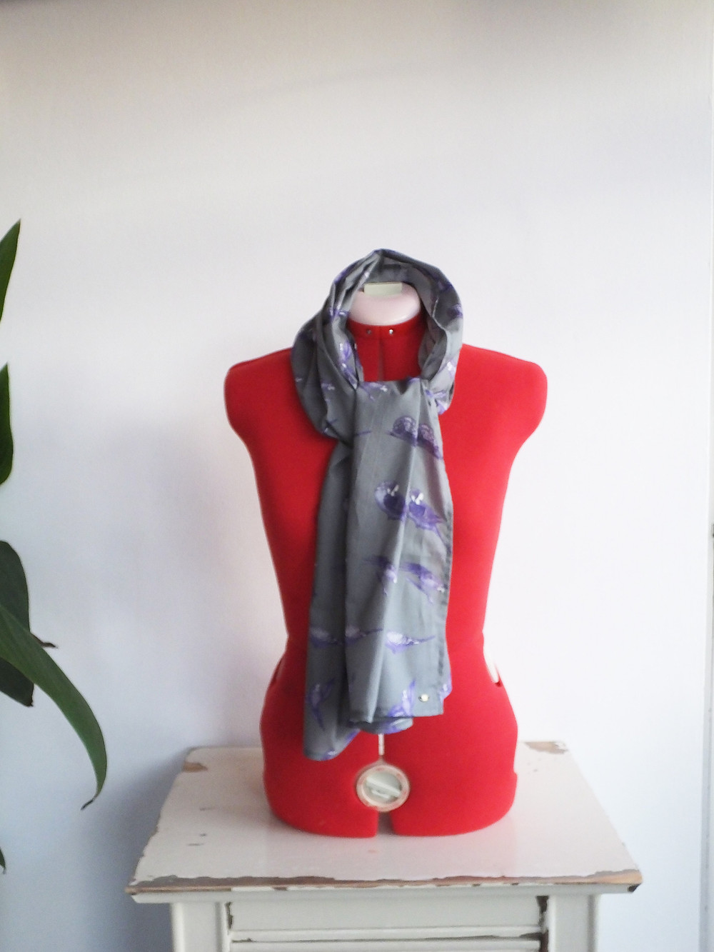 budgie gift - grey parakeet scarf from Jenny K Home