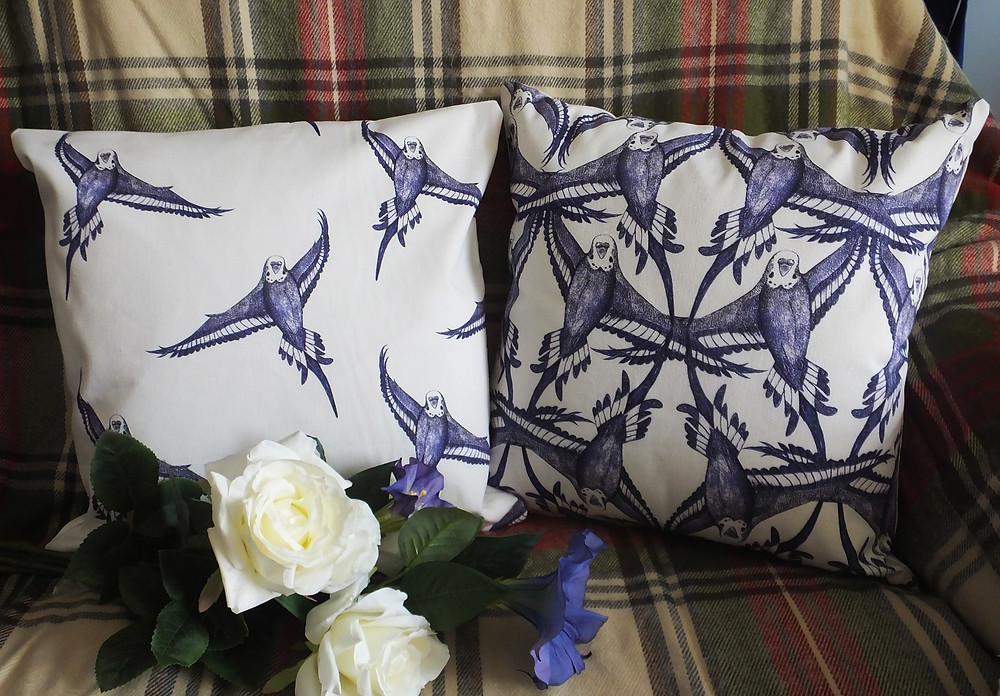 Jenny K Home - repeat pattern budgie bird cushion throw pillow blue black white traditional country classic textile