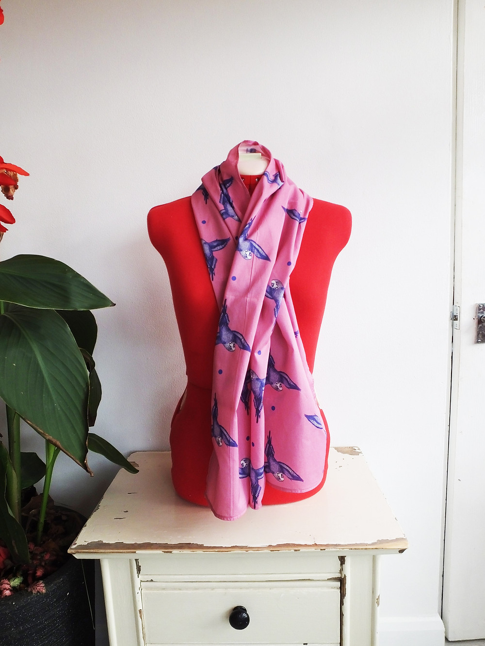 Jenny K Home pale pink baby budgie scarf ladies gift