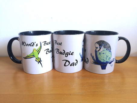 New 'World's Best Budgie Dad' and 'World's Best Budgie Mum' Mugs (Great Father's Day Gifts)