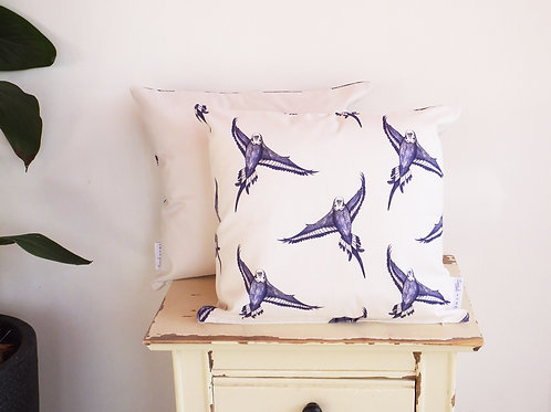 (Flock of Birds) Country-Style Blue & White Budgie Cushion Cover