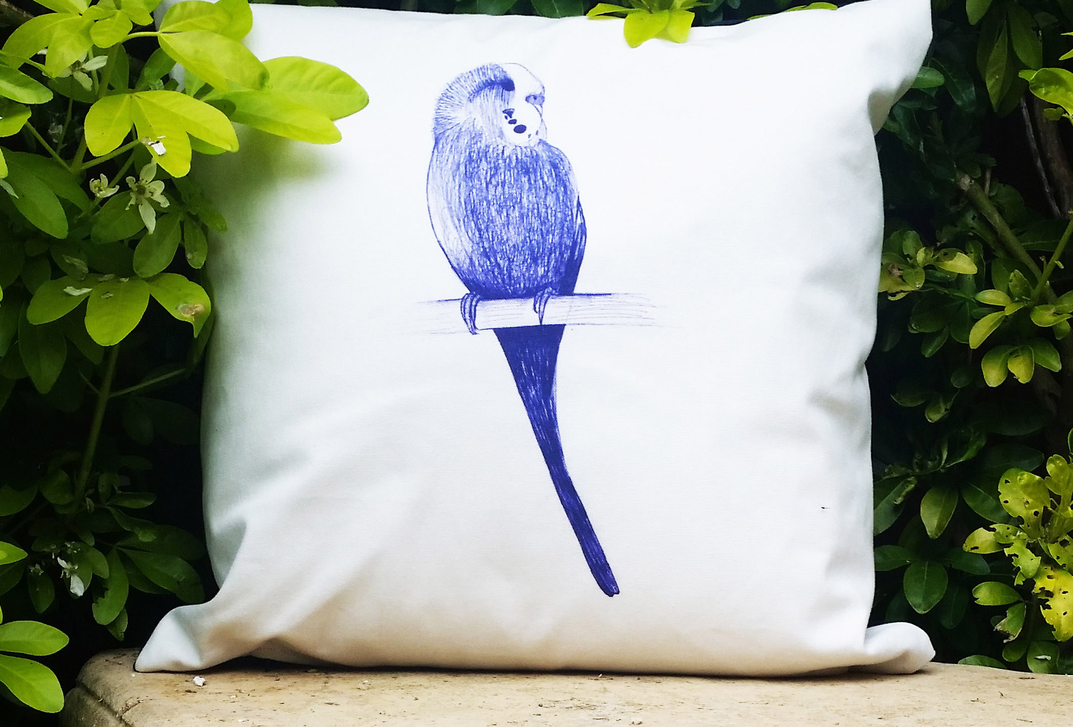 BUDGIE BIRD CUSHION COVER - Handmade