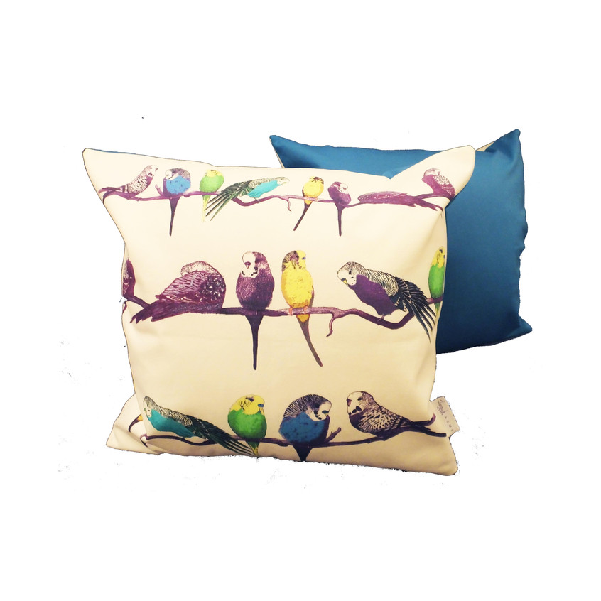 Jenny K Home Budgie Bird Cushion Pillow Aviary Colourful Handmade UK - Blue back 2 - website-min