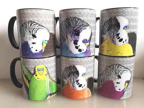 Set of 6x Geometric Budgie Mugs Gift