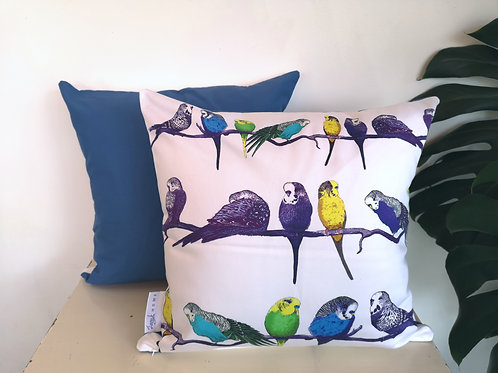 Budgies on a Perch Mid Blue Cushion Cover Gift