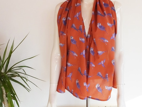 Budgie Scarves Now Available in New Summer Colours!
