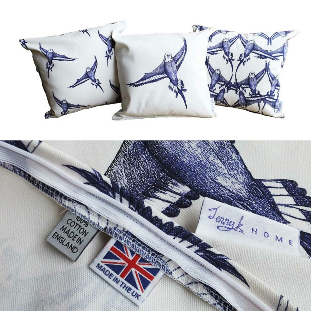 Country Blue and White Budgie Bird in Flight Cushions Pillow - COVER ONLY - Handmade UK rustic - Blue & White Cotton 48cm x 48cm (fits 50cm x 50cm filler)