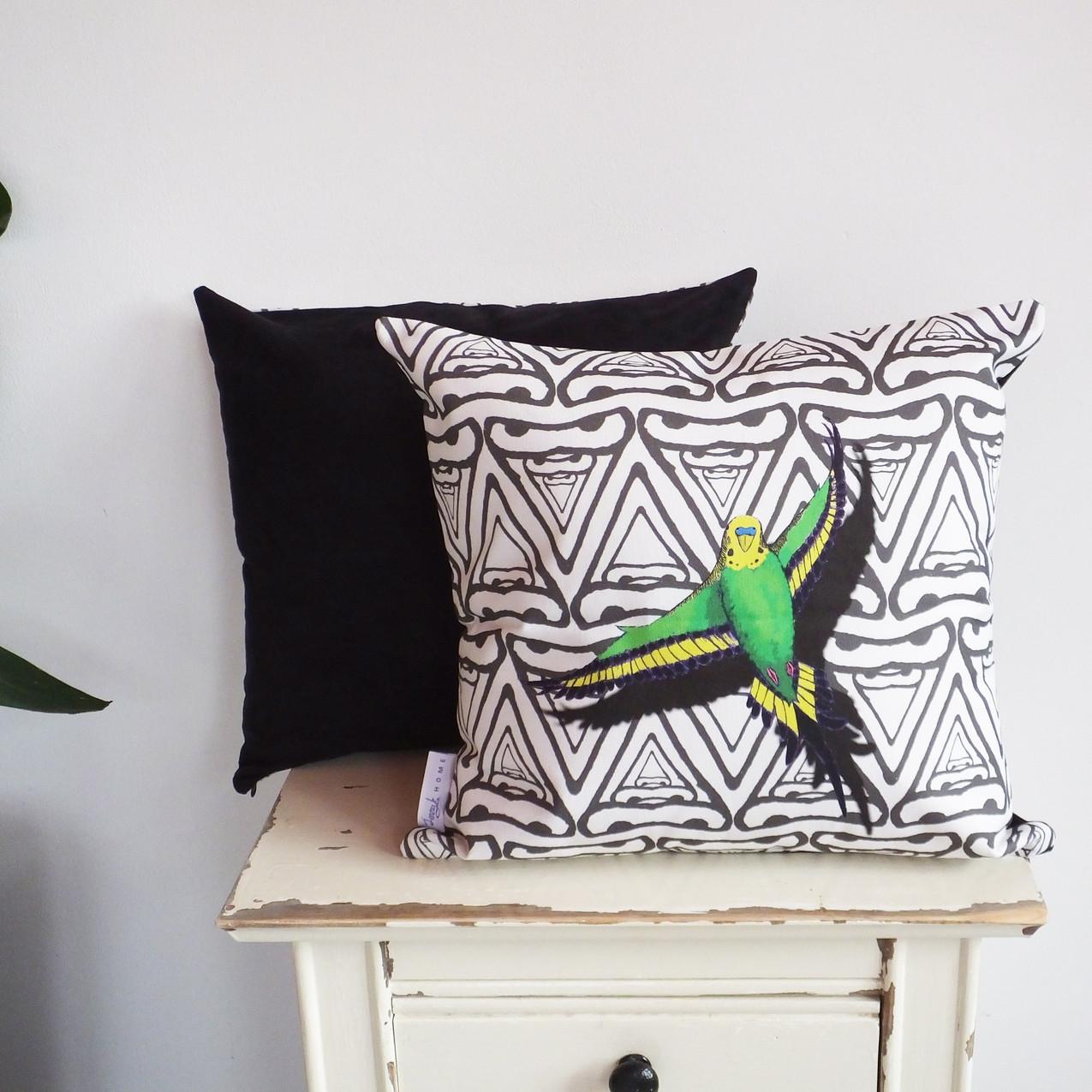 Budgerigar cushion wild green