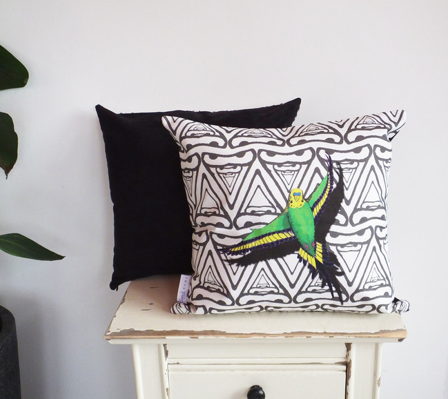 Faux Suede Backed Geometric Budgie Cushion