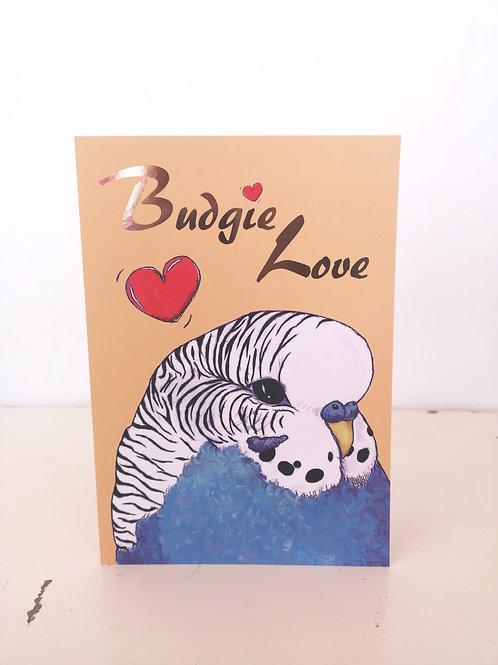 'Budgie Love' Blue Bird Valentine's Day Birthday Card Gift