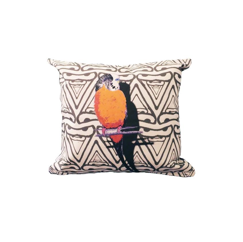 Jenny K Home colour pop budgie cushion orange black abstract background 1-min