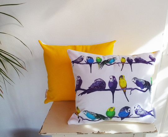 Aviary Style Sunset Yellow Cushion