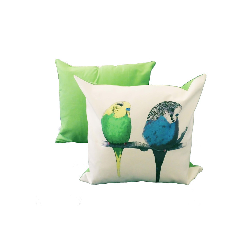 Jenny K Home - Budgie Bird Cushion We're too cute Pattern Multicolour Green Back 1-min