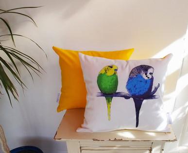 Sunset Yellow Parakeets Cushion