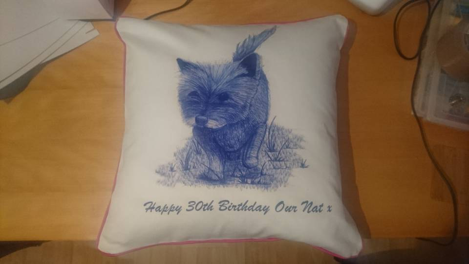 Jenny K Home dog cushion pink cotton uk made 2