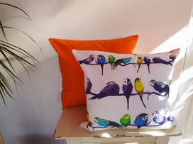 Parakeets Cushion Orange