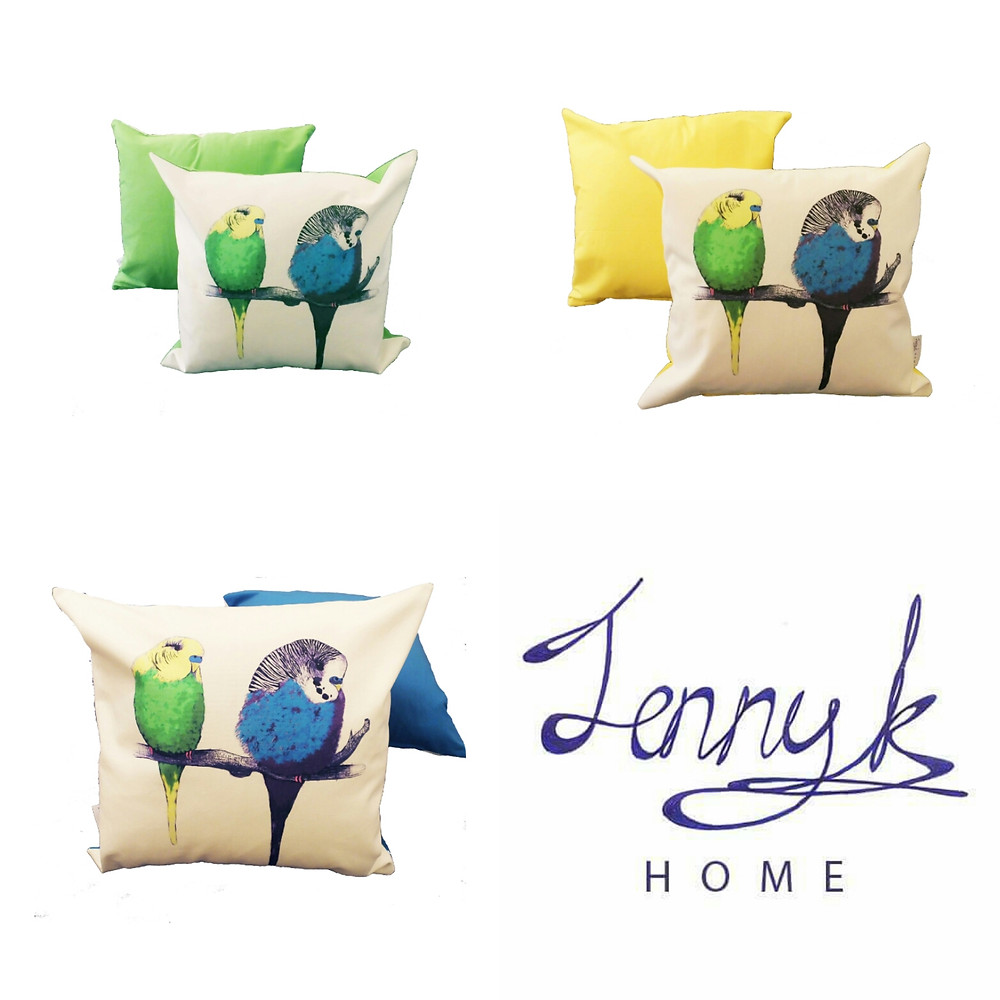 We're Too Cute colour budgie bird cushion throw pillow | CUSHION COVER ONLY | yellow green blue | 48cm x 48cm (fits 50cm x 50cm filler)