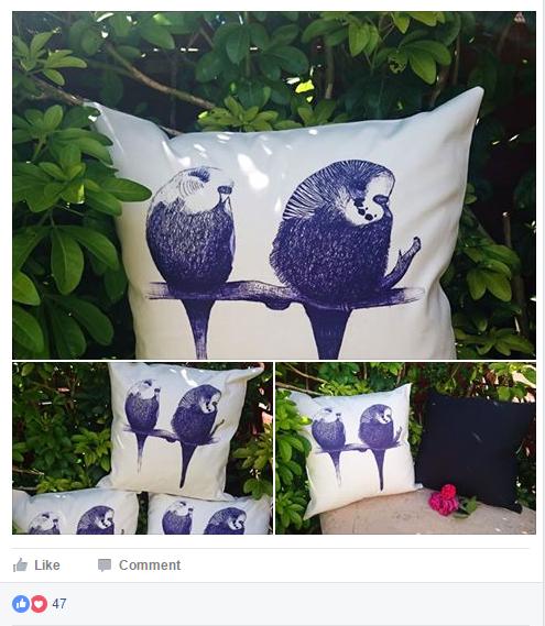 Budgie bird cushions on Budgiemania Facebook Group