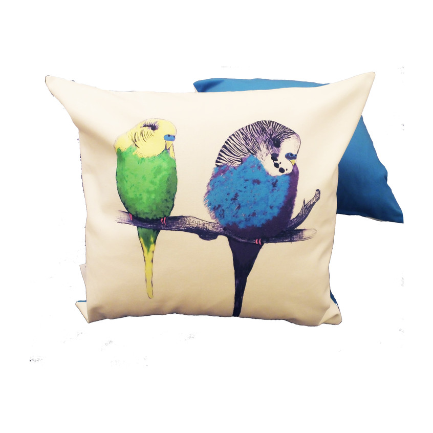 Jenny K Home - Budgie Bird Cushion We're too cute Pattern Multicolour Blue Back 1 - website-min