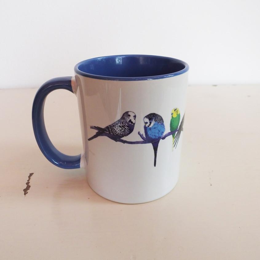 Jenny K Home Blue Budgie Mug Perch Group