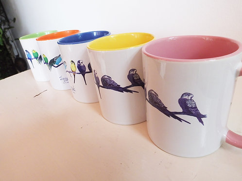 Colourful Parakeet Mugs (can be personalised) Gift