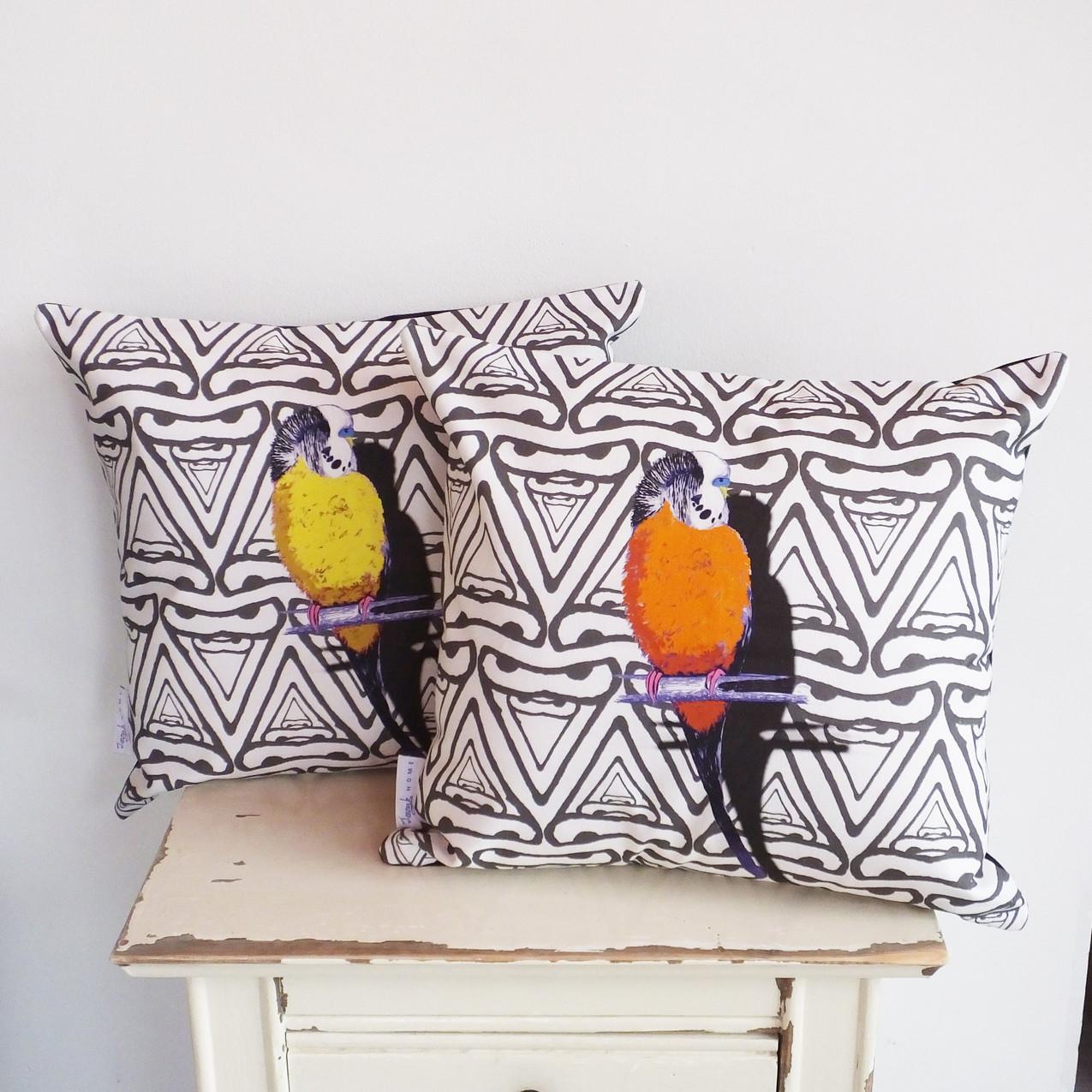 Jenny K Home Orange Monochrome Budgie Cushion 4-min-min