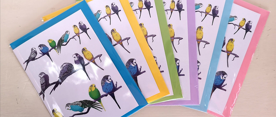 Budgies on a Perch A5 Card & Envelope (can be personalised)
