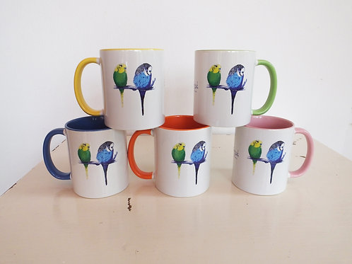 Too Cute Colourful Budgie Mug (can be personalised)