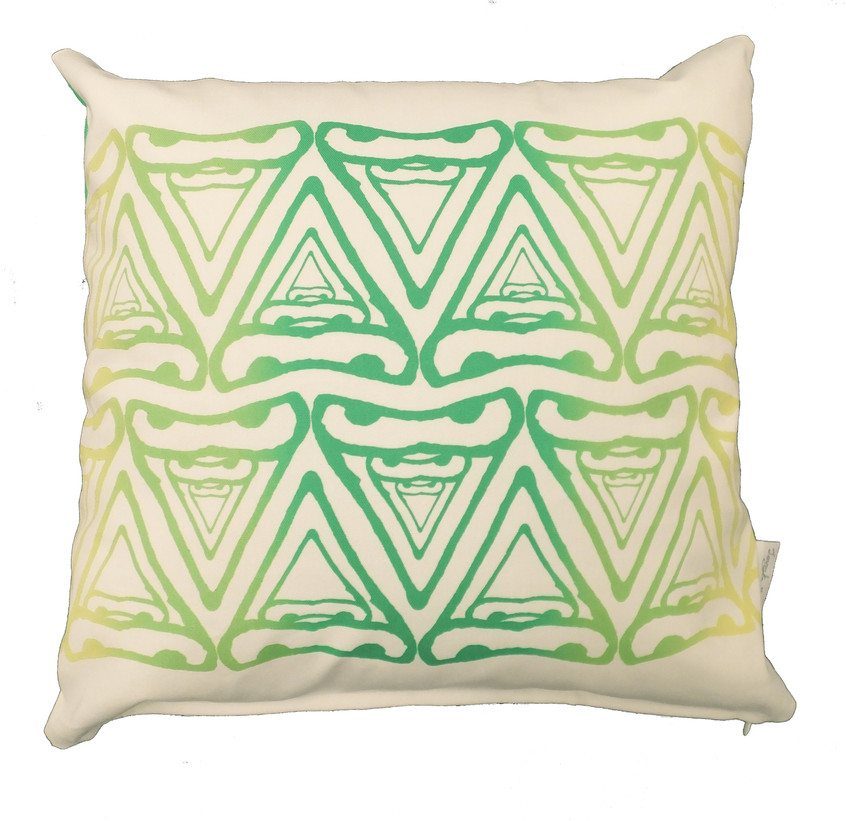 Jenny K Home Abstract Cere Pattern Budgie Bird Cushion Green 1 - transparent-min