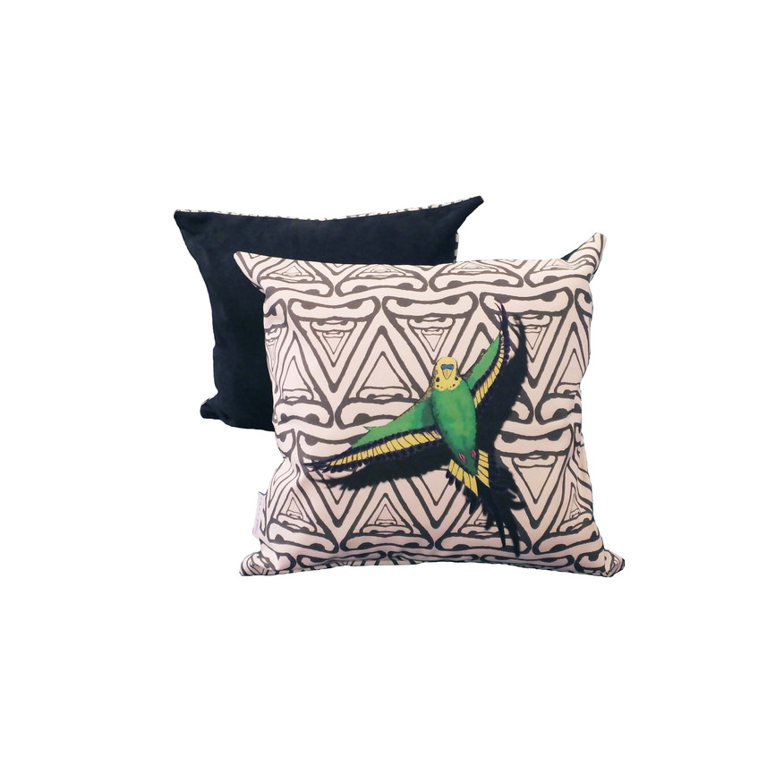 Jenny K Home colour pop budgie cushion green yellow black abstract background 1-min
