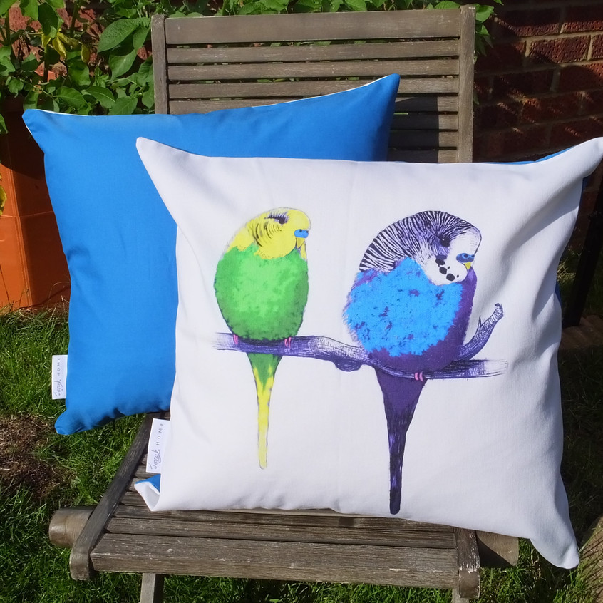 Jenny K Home bright blue budgie parrot cushion 1