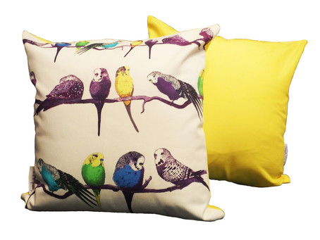 'Happy Budgies' - Latest Cushion Design from Jenny K Home - Yellow, multi-colour, throw pill