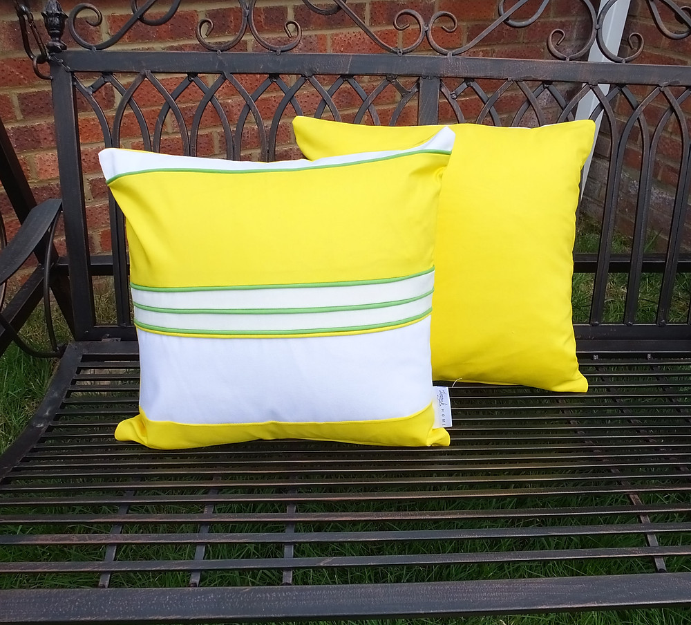 Yellow, Green and White Spring / Summer cushion cover | handmade from recycled fabric with 3D piping texture | 45cm x 45cm / 18 x 18 inch