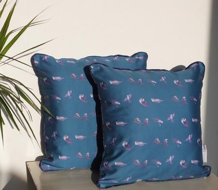 Teal Blue Parakeet Cushion 45cm